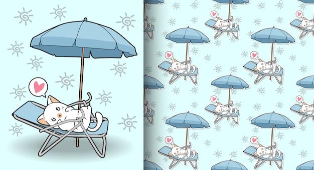 Gato kawaii sin costuras en la cuna con un patrón de paraguas al aire libre Vector Premium