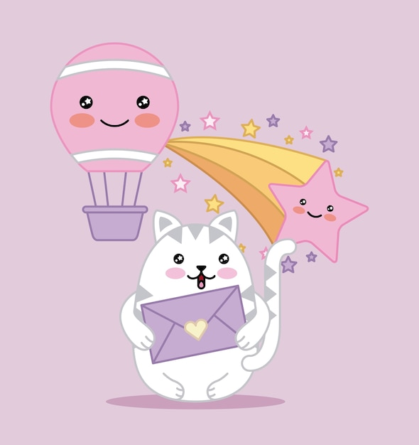 Gato Kawaii Tiene Mensaje Amor Globo De Dibujos Animados Descargar