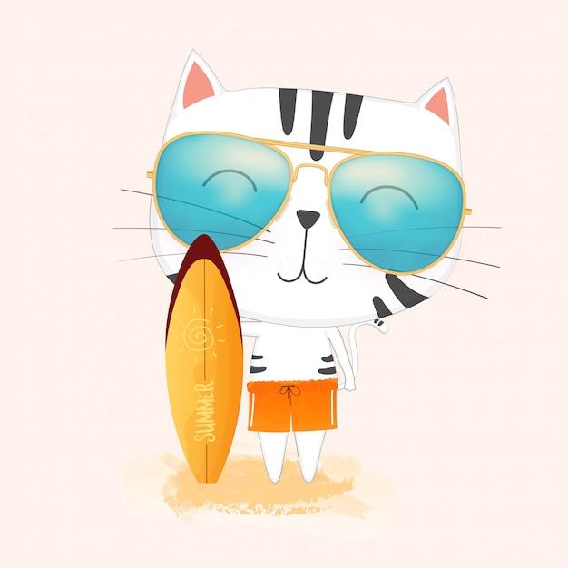 Gato lindo que lleva las gafas de sol que sostienen una tabla hawaiana. Vector Premium