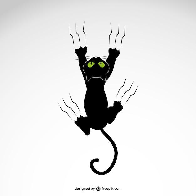Gato Negro Aranando Descargar Vectores Gratis