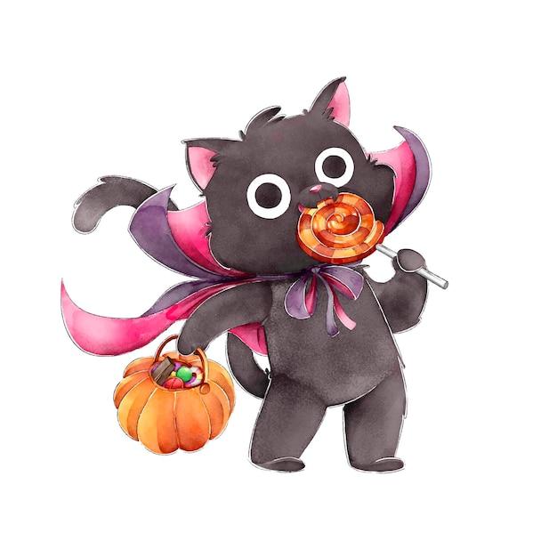 Gato negro comiendo caramelos feliz halloween vector gratuito