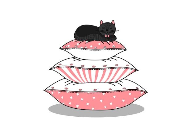 Gato negro durmiendo sobre una pila de almohadas. Vector Premium