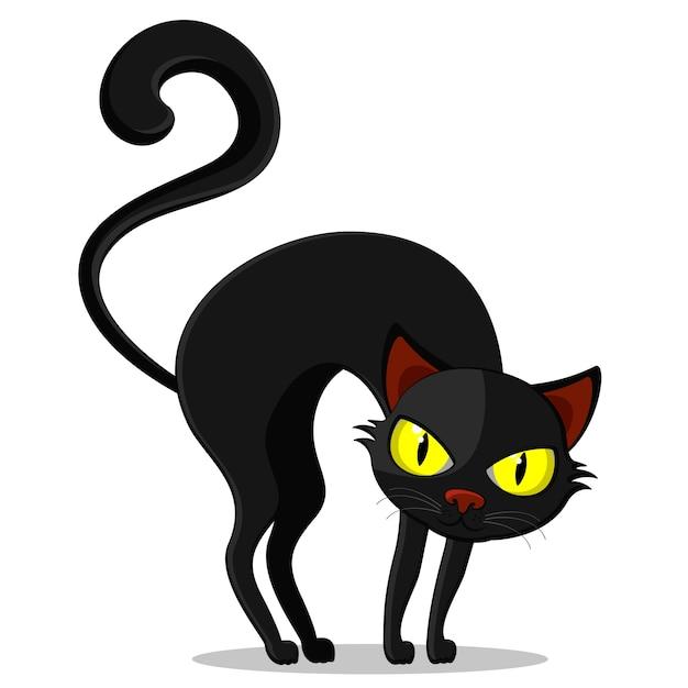 Un gato negro de espalda curvada sobre un fondo blanco, un personaje. víspera de todos los santos Vector Premium