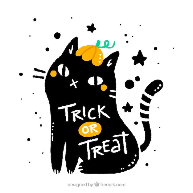 Gato negro con estilo de halloween vector gratuito