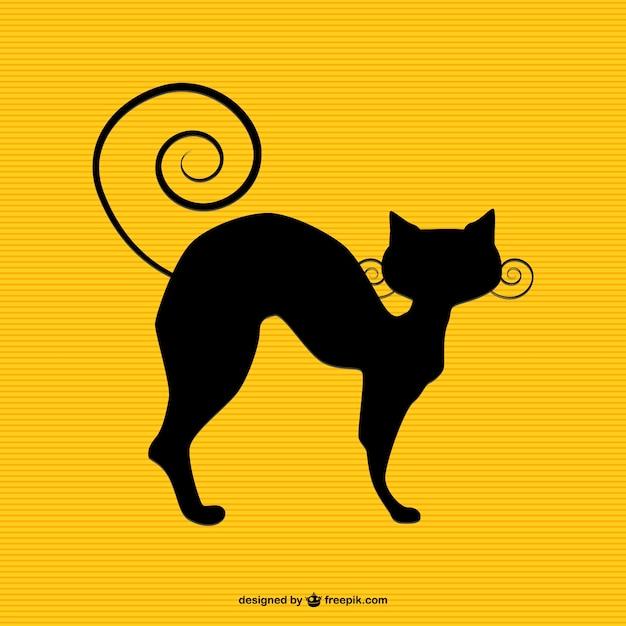 Gato negro vintage Vector Gratis