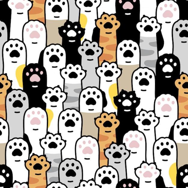 Gato pata gatito huella dibujos animados de patrones sin fisuras Vector Premium