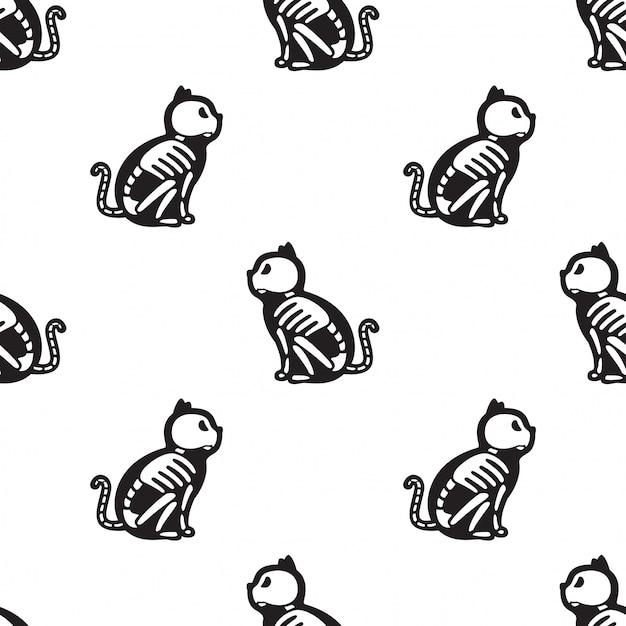Gato de patrones sin fisuras halloween gatito hueso esqueleto dibujos animados Vector Premium