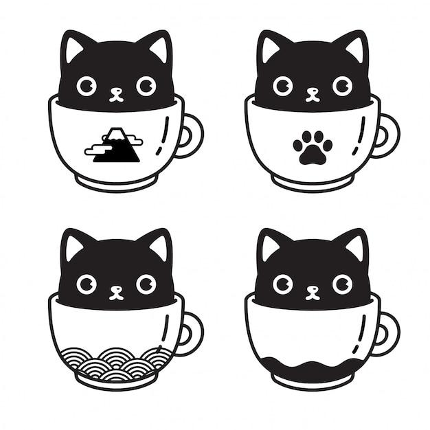 Gato personaje gatito taza de café ilustración de dibujos animados Vector Premium