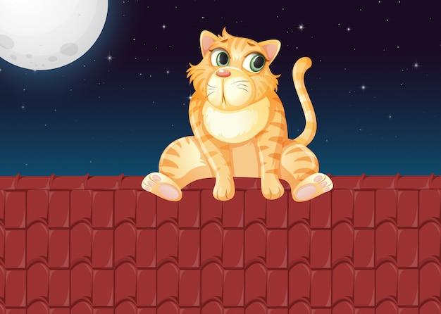 Un gato en el techo vector gratuito