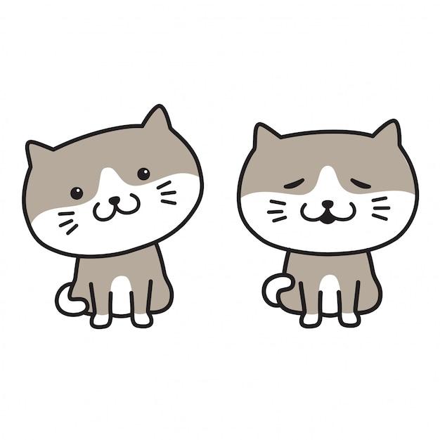 Gato vector gatito icono logo sonrisa mascota dibujos animados Vector Premium