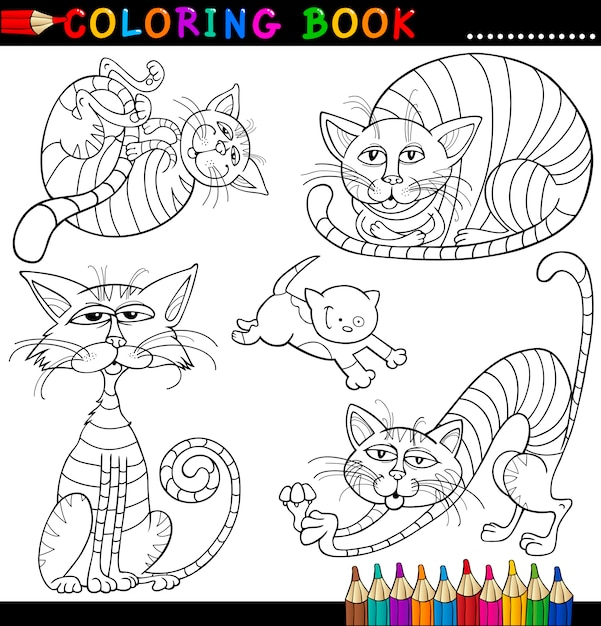 Gatos de dibujos animados para colorear libro o página | Descargar ...