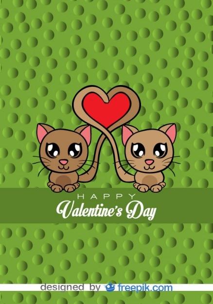 Gatos enamorados , tarjeta de vector de historieta Vector Gratis