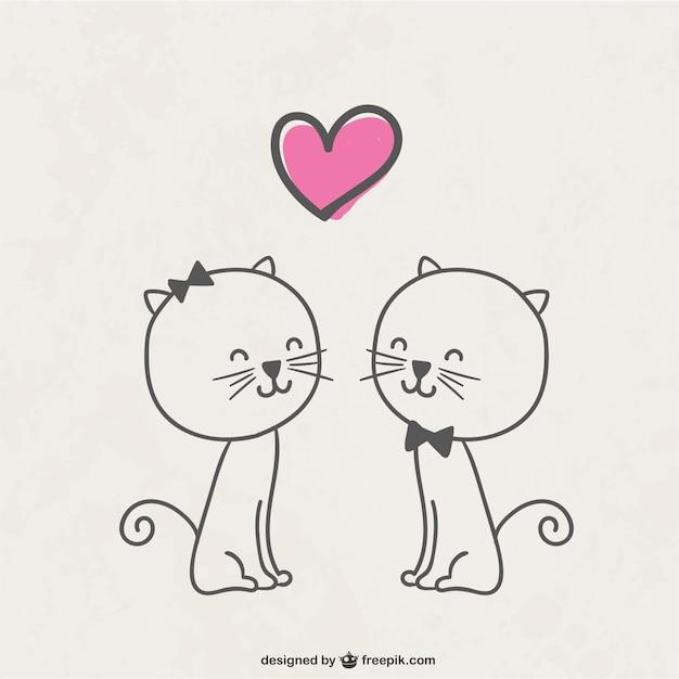 Gatos enamorados Vector Gratis