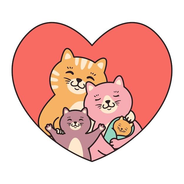Gatos familia madre, padre, hijo y recién nacido abrazo en el corazón. Vector Premium