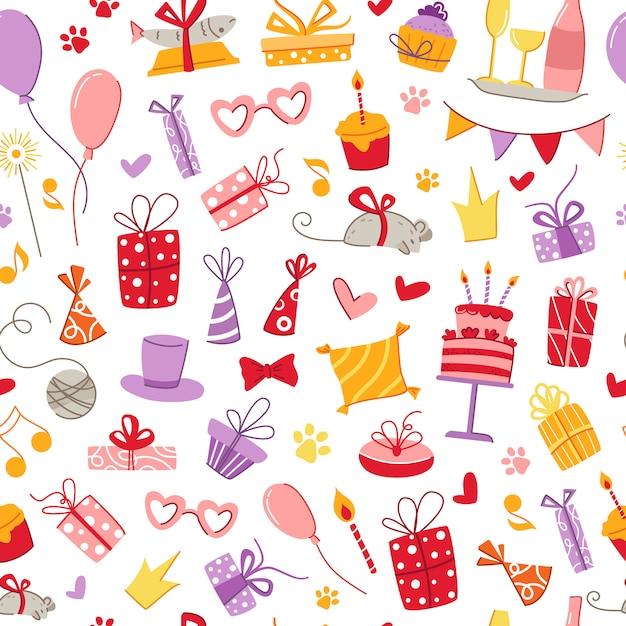 Gatos fiesta de cumpleaños mascotas accesorios de patrones sin fisuras - cajas de regalo, comida, almohada, pescado, ratón Vector Premium