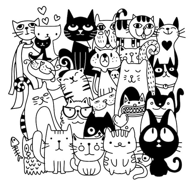 Gatos graciosos dibujados a mano. Vector Premium
