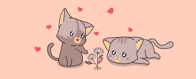 Gatos kawaii y mini flores Vector Premium