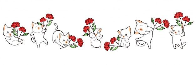 Los gatos kawaii sostienen flores Vector Premium