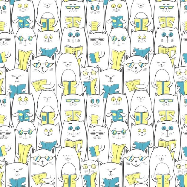 Gatos con libros, de patrones sin fisuras. Vector Premium