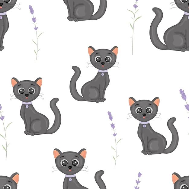 Gatos lindos con el collar colorido de patrones sin fisuras. Vector Premium