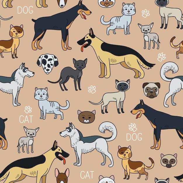 Gatos y perros de patrones sin fisuras. Vector Premium