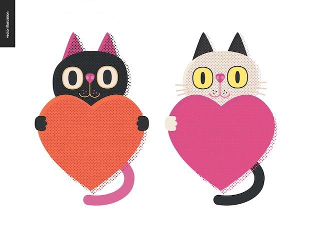 Gatos sosteniendo un corazón Vector Premium