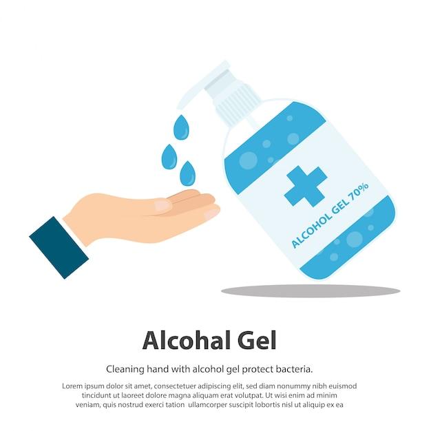 Gel de alcohol gel de lavado de manos gel de lavado de manos y bacterias Vector Premium