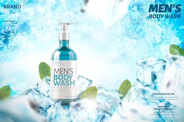 Gel de baño refrescante para hombres con hojas de menta, sobre fondo congelado Vector Premium