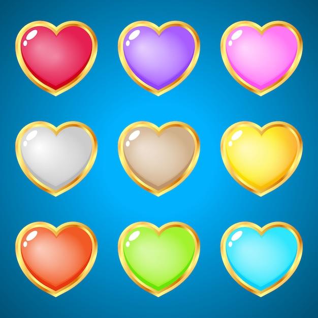 Gemas corazones 9 colores para juegos de puzzle. Vector Premium