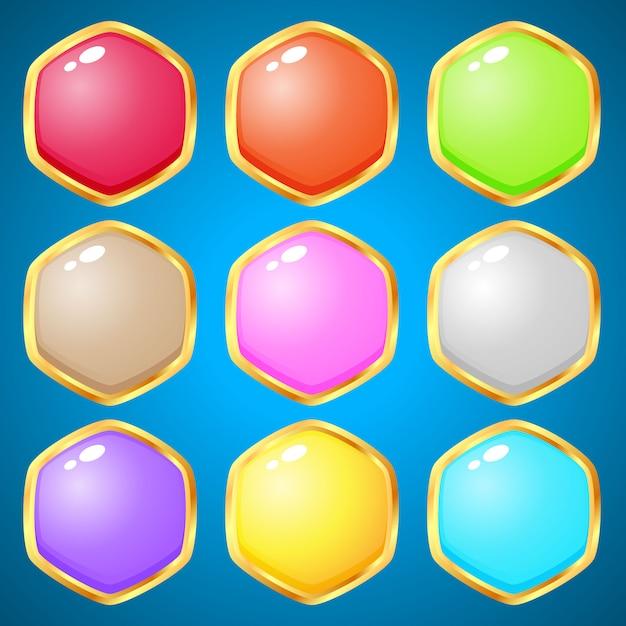 Gemas hexagonales de 9 colores para juegos de puzzle. Vector Premium