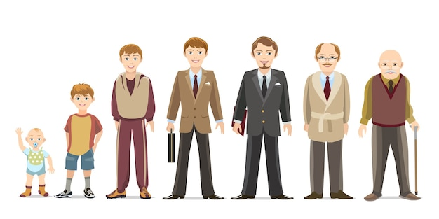 Generación de hombres desde bebés hasta adultos mayores. niño y adolescente, niño y anciano. vector gratuito
