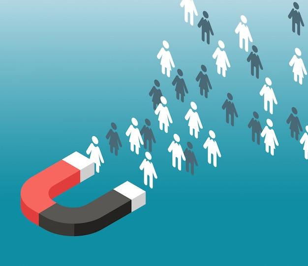 Generación de leads. atracción de tráfico web. el imán atrae a las personas. concepto de vector de marketing entrante Vector Premium