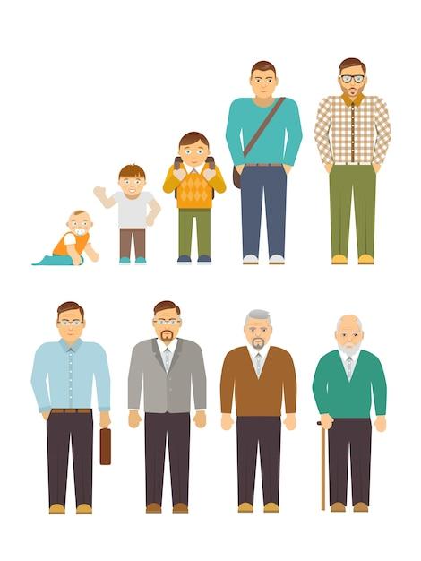 Generation men flat vector gratuito