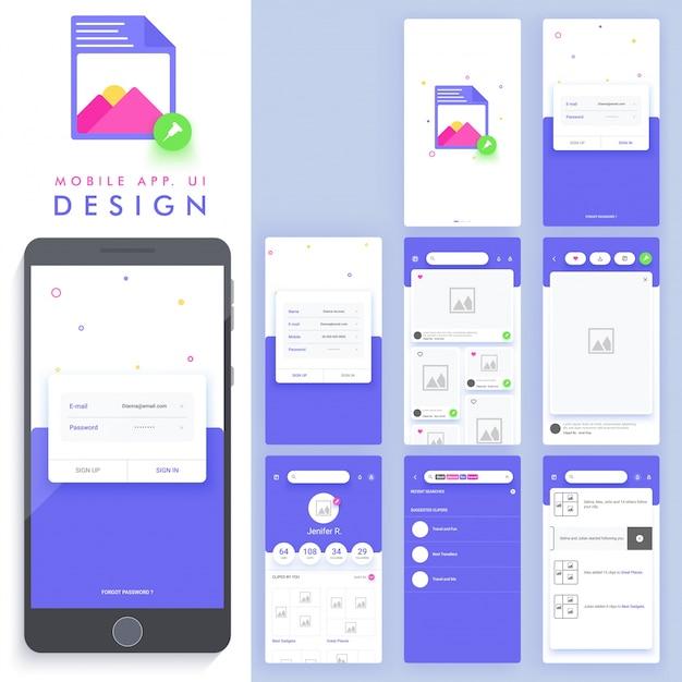 Genial diseño de aplicación móvil descargar vectores premium