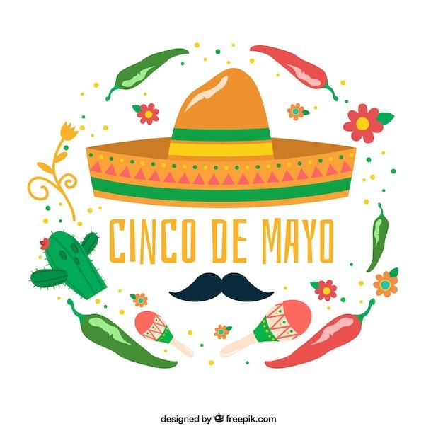 Genial fondo con elementos mexicanos decorativos para el cinco de ... 183ea47d688