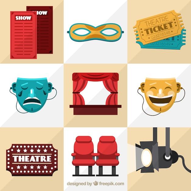 Geniales artículos de teatro en diseño plano vector gratuito
