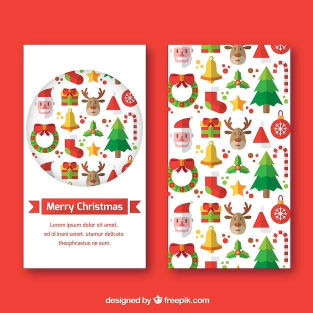 Geniales banners decorativos con objetos de navidad planos - Objetos de navidad ...