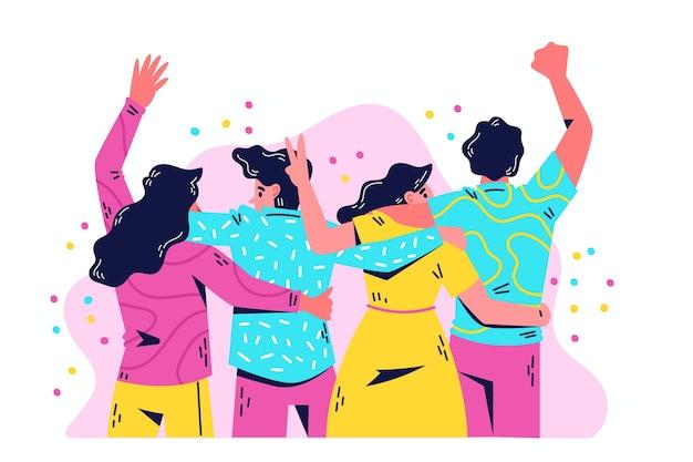 Gente abrazando juntos día de la juventud vector gratuito