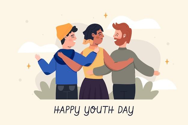 Gente abrazándose juntos en el día de la juventud en diseño plano vector gratuito