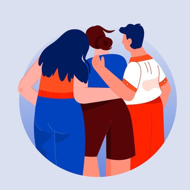 Gente abrazándose unos a otros evento del día de la juventud vector gratuito