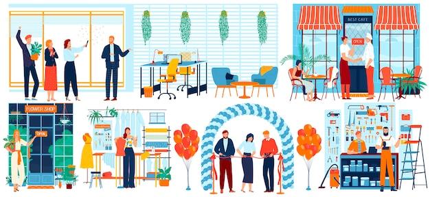 La gente abre la ilustración de negocios, empresario de dibujos animados cortando la cinta roja en el evento de inauguración, con iconos de señal abierta Vector Premium