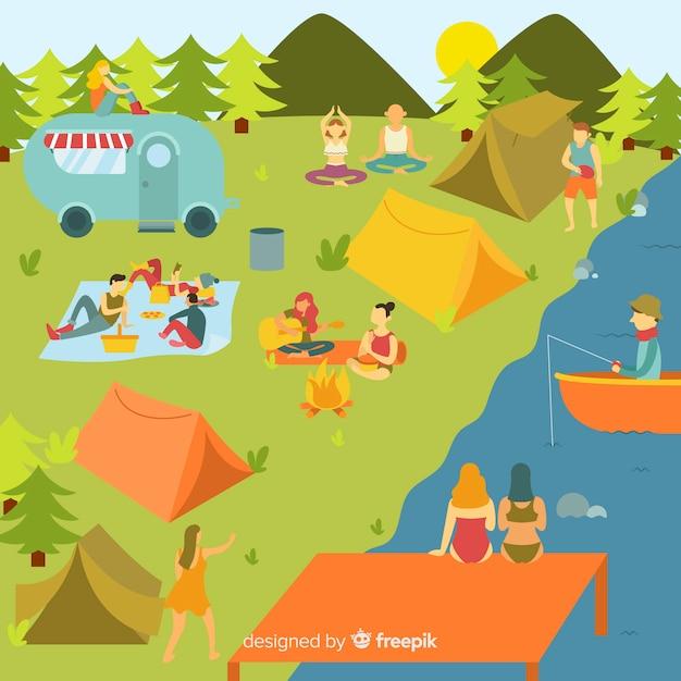 Gente acampando en la montaña vector gratuito