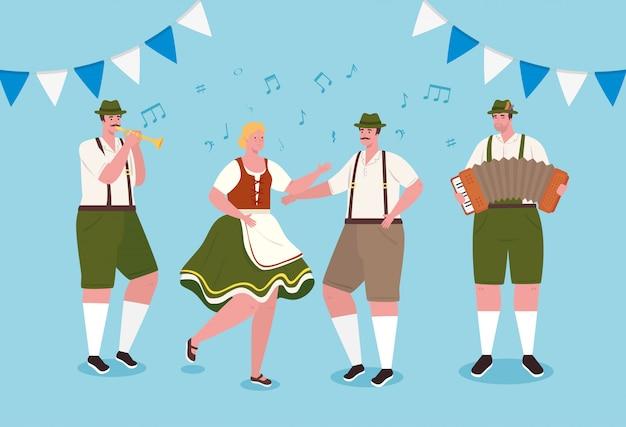 Gente alemana en traje nacional bailando, hombres y mujeres en traje tradicional bávaro, diseño de ilustraciones vectoriales Vector Premium