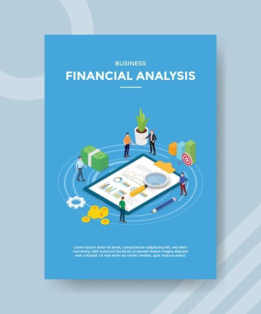 La gente de análisis financiero empresarial mide el dinero de la tabla de documentos estadísticos para la plantilla de pancarta y volante vector gratuito