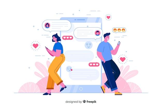 Gente apoyada en el teléfono mientras chatea ilustración del concepto vector gratuito