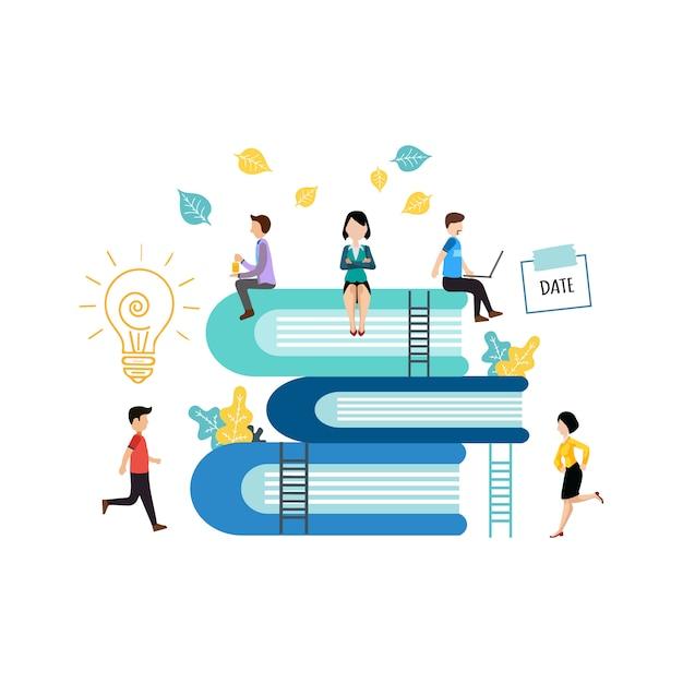La gente aprende y gana conocimiento. estudiar juntos. ilustración ...