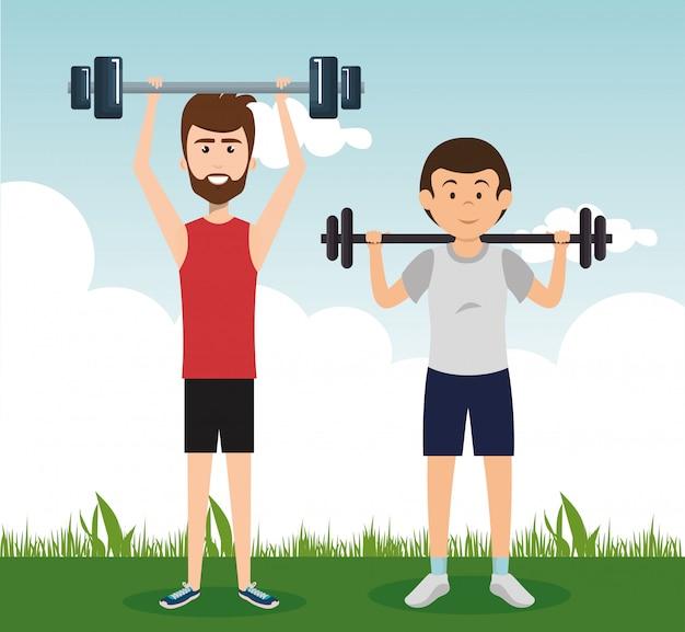 Gente atlética practicando ejercicios de personajes vector gratuito