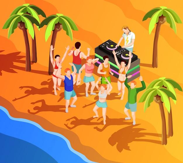 Gente de baile isométrica en la ilustración de playa vector gratuito