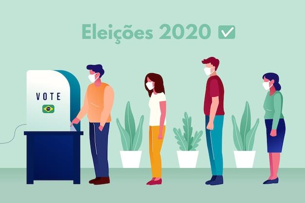 Gente de brasil cola de votación con mascarilla vector gratuito