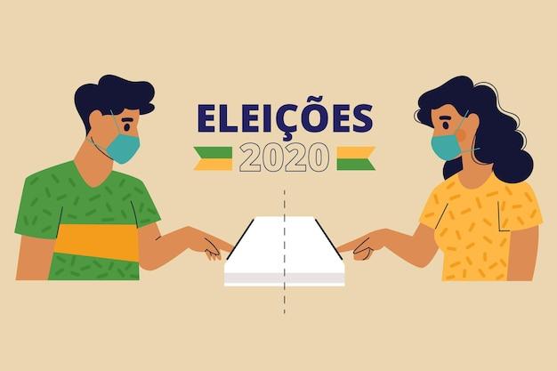 Gente de brasil cola de votación con mascarilla Vector Premium